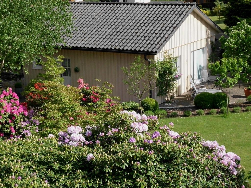 """Außenansicht mit Terrasse Ferienhaus """"Unter den Birken"""" Bispingen"""